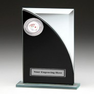 Black & Silver Glass Award with Poker Insert