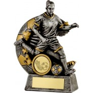 Gunmetal / Gold Female Footballer Trophy