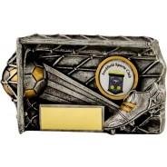 Gunmetal / Gold Football Goal Net Trophy