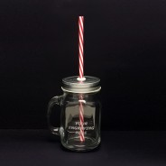 Rink Drink Jam Jar Drinking Glass with Lid/Straw 620ml