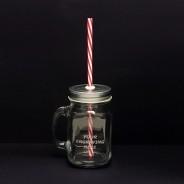 Rink Drink Jam Jar Drinking Glass with Lid/Straw 450ml