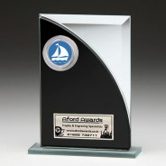 Black & Silver Glass Award with Sailing Insert