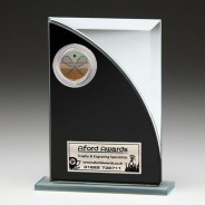 Black & Silver Glass Award with Squash Insert