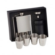 Aintree Polished Steel Flask & Cups