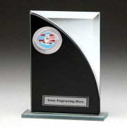 Black & Silver Glass Award with Swimming Insert