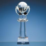 Optical Crystal Mounted Globe Column Award