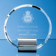 Optical Crystal Circle mounted on a Chrome Stand