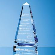 Clear Optical Crystal Cenotaph Award with a Single Cobalt Blue Line