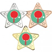 Table Tennis Star Shaped Medals