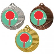 """Table Tennis 50mm Medal with 1"""" Centre"""