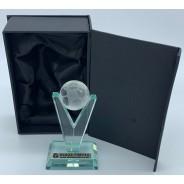 Jade/Clear Glass Football on 'V' Stem Trophy