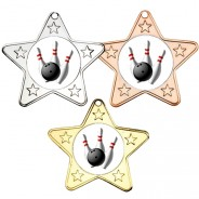 Ten Pin Bowling Star Shaped Medals