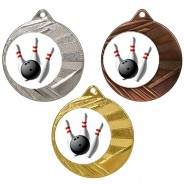 """Ten Pin Bowling 50mm Medal with 1"""" Centre"""