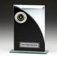 Black & Silver Glass Award with Victory Insert