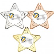 Volleyball Star Shaped Medals