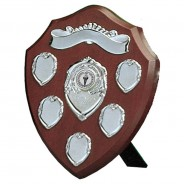 Wood Presentation Shield with Silver Record Shields