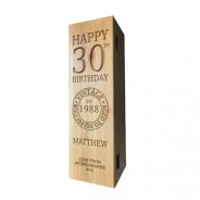 Birthday Laser Engraved Wooden Wine Box with Tools