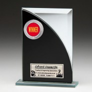 Black & Silver Glass Award with Winners Insert