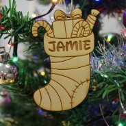 Christmas Stocking Wooden Decoration