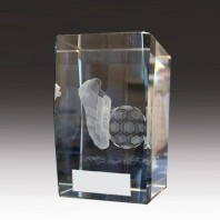 Football Crystal Block Trophy