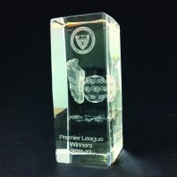 Football Crystal Block - Laser Engraved