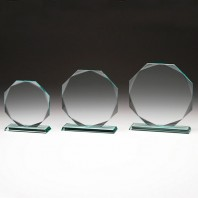 10MM Thick Octagonal Glass Plaque Trophy with free Engraving!