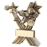 Bronze/Gold Male Football Figure on Crossed Stars Trophy