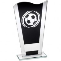 Black/Silver Printed Glass Plaque with Silver Football Swirl Trophy