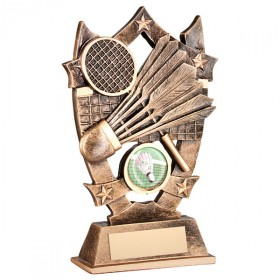 BRZ/GOLD RESIN BADMINTON 5 STAR TROPHY