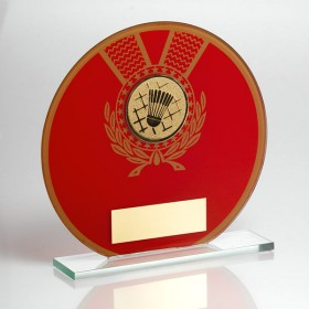 JADE GLASS ROUND PLAQUE RED/GOLD WITH BADMINTON INSERT TROPHY