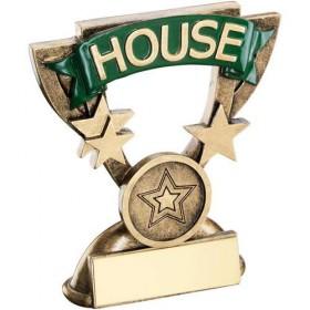 Bronze/Gold School House Mini Cup Trophy - Green