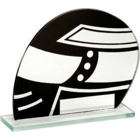 Jade Glass Black/Silver Motor Sport Helmet Trophy